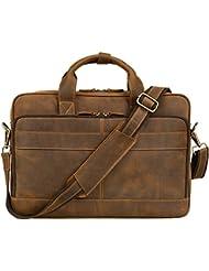 Jack&Chris Mens Genuine Leather Briefcase Messenger Bag Attache Case 15.6 Laptop, MB005B