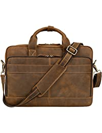 "Men's Genuine Leather Briefcase Messenger Bag Attache Case 15.6"" Laptop, MB005B"