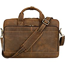 "Jack&Chris Men's Genuine Leather Briefcase Messenger Bag Attache Case 15.6"" Laptop, MB005B"