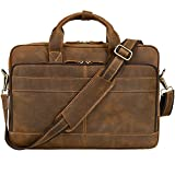 Jack&Chris Men's Genuine Leather Briefcase Messenger Bag Attache Case 15.6'' Laptop, MB005B