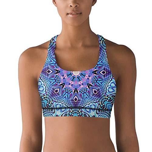 Heart Wolf Ornate Mandala Loop Background Footage Cross Back Ultra Soft Jogging Yoga Bra for Women Sports Bras - Ornate Heart Cross