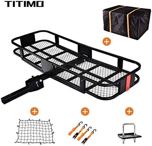 "TITIMO 60""x21""x6"" Folding Hitch Mount Cargo Carrier - Luggage Basket Rack Fits 2"" Receiver - Rear Cargo Rack for SUV, Truck, Car(Includes Cargo Net, Ratchet Straps, Waterproof Cover) - 550LB Capacity"