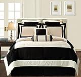 Fashion Street Black Gramercy 12-Piece Bed-In-a-Bag, Queen