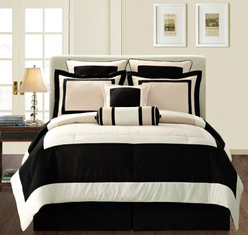 Fashion Street Black Gramercy 12-Piece Bed-In-a-Bag, Queen