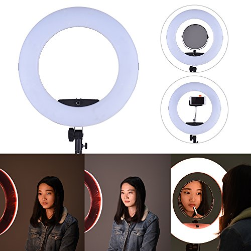 Andoer FD-480II 17.7'' /45cm 96W Dimmable Bi-color 3200-5500K Macro LED Video Ring Light Lamp Make-up Mirror Smartphone Holder for Canon Nikon Sony Camera Camcorder Photography Studio Live Broadcast by Andoer