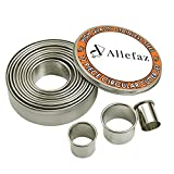 Heavy Duty Commercial Grade Round Metal Cookie Cutter Set of 11 Pieces with Storage Tin -Oven and Dishwasher Safe- Pastry and Baking Tools for Making Donuts, Biscuits, Burgers, and more by Allefaz