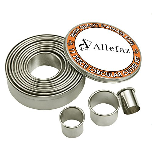 l Grade Round Metal Cookie Cutter Set of 11 Pieces with Storage Tin -Oven and Dishwasher Safe- Pastry and Baking Tools for Making Donuts, Biscuits, Burgers, and more by Allefaz ()