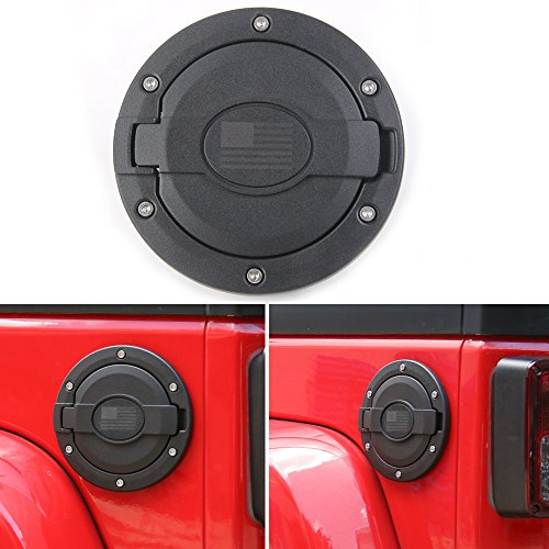 BORUIEN Matt Black Gas Tank Cap Cover Fuel Filler Door for 2007-2016 Jeep Wrangler JK 2/4 Door (USA Flag)