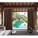 Macochico 120Wx 96L Chocolate Outdoor Extra Wide Curtains Panels Privacy Protection Thermal Insulated Dustproof for Bedroom Living Room Patio Garden Porch Pergola Cabana (1 Panel)