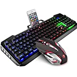 SADES gaming keyboard and mouse sets,wired keyboard and mouse with colorful lights and mouse with 4 adjustable DPI for gaming for PC/laptop/win7/win8/win10 …