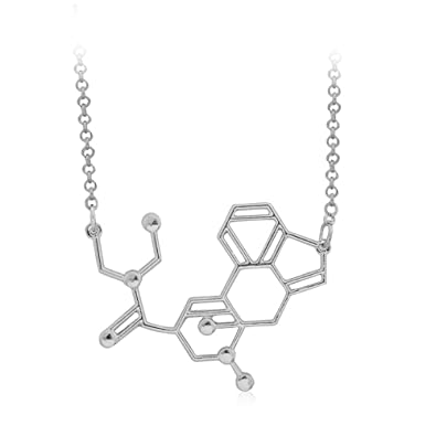 624fbd200d3d2 MUZHE LSD Serotonin Molecule Necklace, Happiness Neurotransmitter Necklace,  Organic Chemistry Jewelry for Science Lovers, Science Major College ...
