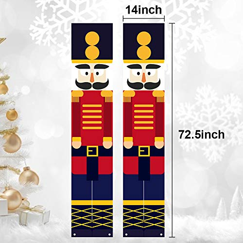 BigOtters Porch Sign Christmas Door Sign, 73 Inches Christmas Nutcracker Hanging Banners for Holiday Home Indoor Outdoor Porch Wall Christmas Decoration