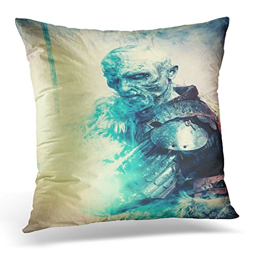 Emvency Throw Pillow Covers White Demon Halloween Frozen Snow Covered Zombie Warrior in The Armor of Medieval Knight Blue Horror Decorative Pillow Case Home Decor Square 20