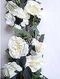 30'' Crinkle Rose Swag Artificial Silk Wedding Bridal Bouquet Craft Flowers Home Decor (Cream)