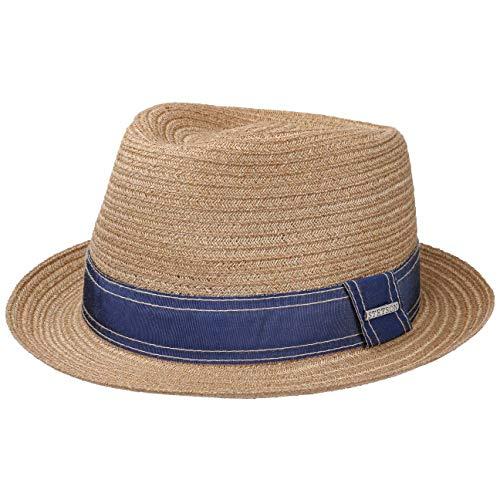 Stetson Lorenzo Fedora Hemp Hat Women/Men Dark Beige XL (7 1/2-7 5/8)