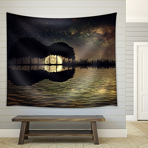(wall26 - Trees Arranged in a Shape of a Guitar on a Starry Sky Background in a Full Moon Night - Fabric Wall Tapestry Home Decor - 51x60 inches)
