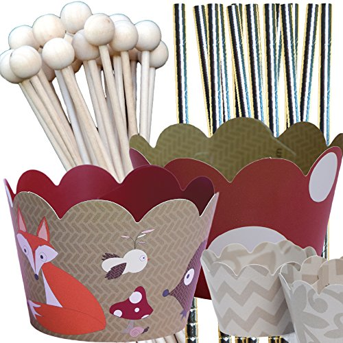 Woodland Animals Theme Party Supplies Pack, Birthday or Baby Shower, Confetti Couture, 96 Piece Kit