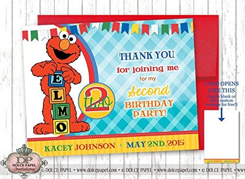 10 ELMO FOLDING THANK YOU CARDS 2nd Birthday Party ANY AGE 4.25x5.5 (Folding Elmo)