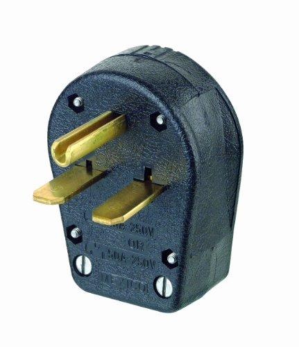 Leviton 931 30/50 Amp, 250 Volt, Plug, Angle, Grounding, Black