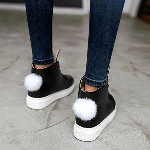 YE Damen Flache Schnürhalbschuhe Durchgängiges mit Fell und Schnürung Freizeit Bequem Süß Schuhe Schwarz