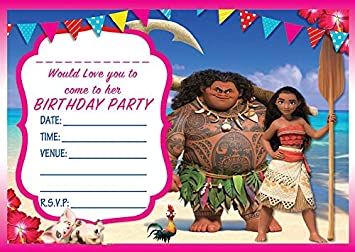 MOANA BIRTHDAY PARTY INVITES INVITATIONS X 10 PACK