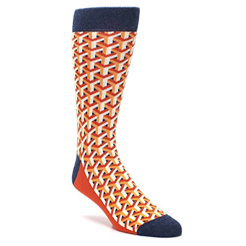 Statement Sockwear Cube Optical Men's Dress Socks (Orange Optical Y) by Statement Sockwear