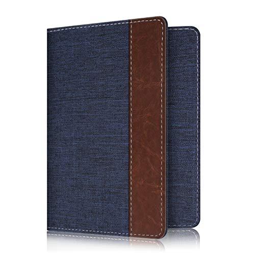Fintie Passport Holder Travel Wallet RFID Blocking Fabric Card Case Cover, Denim Indigo/Brown