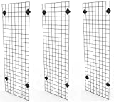 Only Garment Racks 2' x 6' Black Wire Grid Panel Wall Display - Grid Wall Complete with Wall Mount Brackets - (Sold as a Set of 3 Gridwalls and 12 Wall Mount Brackets)