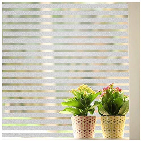 Frosted Glass Blocks - Bloss Non-Adhesive White Lines Privacy Window Film,Frosted Decorative Cling Glass Film for Home and Office (17.7-by-78.7 Inches)