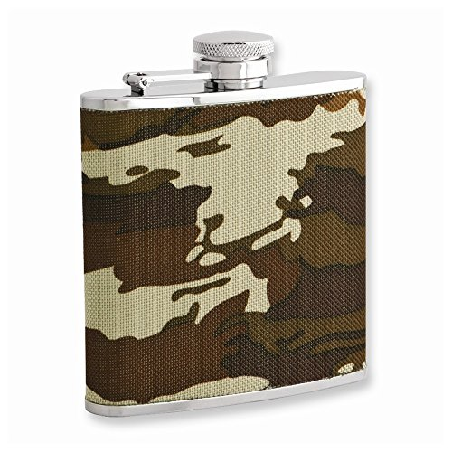 - Goldia Rebel Steel Nylon Camo 5oz Stainless Steel Flask with Funnel, NEW