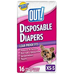 OUT! Disposable Female Dog Diapers, XS - S