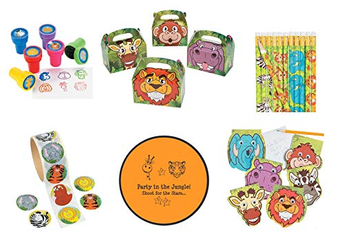 Zoo Animal Safari Party favors 160 pc Bundle (12 Goodie Boxes, 24 Stampers, 100 Stickers, 12 Notepads, 12 Pencils & Bonus Folding Flying Disc)