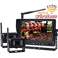 NEW 9 Wireless Rear VIEW BACK UP monitor with Wireless Transmission Backup Camera FOR FARM TRACTORS DIGITAL WATERPROOF AGRICULTURE Equipment(Included 2 Pcs Digital Wireless Waterproof IR Camera)