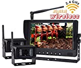 "NEW 9"" Wireless Rear VIEW BACK UP monitor with Wireless Transmission Backup Camera FOR FARM TRACTORS DIGITAL WATERPROOF AGRICULTURE Equipment(Included 2 Pcs Digital Wireless Waterproof IR Camera)"