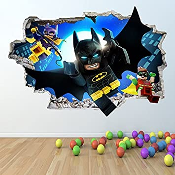 1Stop Graphics Shop LEGO BATMAN WALL STICKER 3D LOOK   BOYS GIRLS BEDROOM  WALL ART DECAL Z418 Size: Large: Amazon.co.uk: DIY U0026 Tools