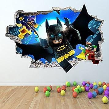 1Stop Graphics Shop LEGO BATMAN WALL STICKER 3D LOOK   BOYS GIRLS BEDROOM  WALL ART DECAL Z418 Size: Large: Amazon.co.uk: DIY U0026 Tools