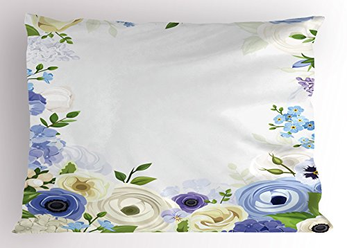 Ambesonne Garden Art Pillow Sham, Romantic Natural Floral Frame Design with Roses Peonies and Fresh Spring Leaves, Decorative Standard King Size Printed Pillowcase, 36 X 20 inches, ()