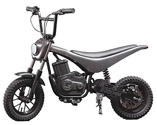 - Burromax Black Carbon Fiber TT350R Electric Motorcycle Dirt Bike for Kids | Fast and Long Lasting 24V 350W Charge | Ride On Mini Pocket Bike 20027