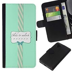 KingStore / Leather Etui en cuir / LG Nexus 5 D820 D821 / Para desbloquear la mariposa azul del trullo del texto;