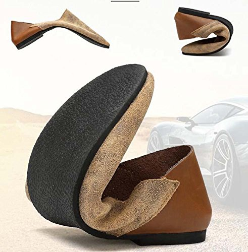 Bomba Hombres Cuero Zapatos casuales Ponerse Mocasín Oxford Estilo de Inglaterra Coincidencia de color Respirable Antideslizante Zapatos perezosos Conducción Zapatos Pedal Zapatos Tamaño de la UE 38-4 Grey