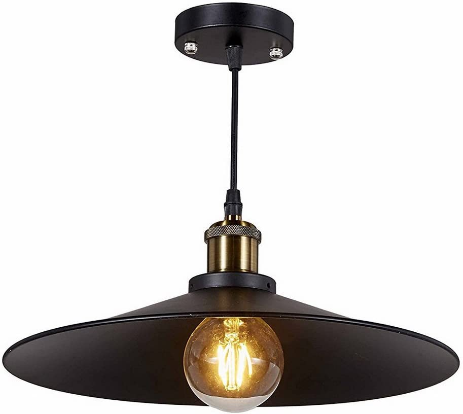 New Legend 1-Light Antique Black Metal Shade Hanging Pendant Ceiling Lamp Fixture
