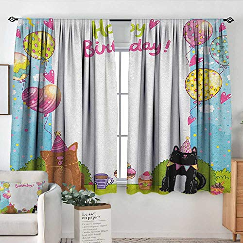 Curtains for Bedroom Kids Birthday,Party Black and Brown Cats Cakes Balloons Heart Traditional Polka Dots Art, Multicolor,Darkening and Thermal Insulating Draperies 55
