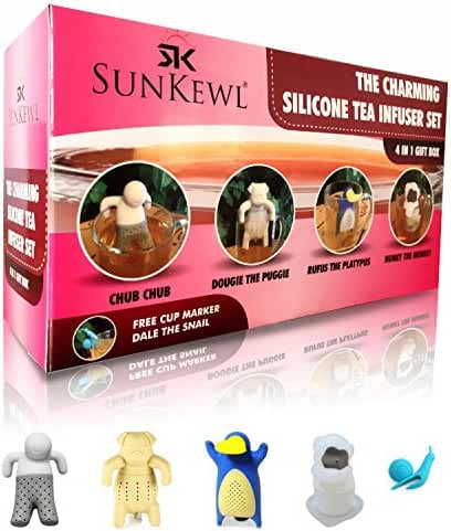 The Charming Loose Leaf Silicone Tea Infuser Set of 4 by SunKewl with Gift Box