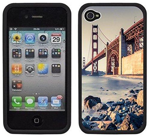 le pont du Golden Gate | Fait à la main | iPhone 4 4s | Etui Housse noir