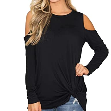 eeb3b1e0 Turkey Women Casual Solid Long Sleeve Off Shoulder Knotted Hem T-Shirt Loose  Blouse Top: Amazon.co.uk: Clothing