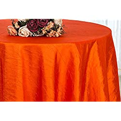 Wedding Linens Inc. 120 inch Round Crinkle Crushed Taffeta Tablecloths, Round Table Cover Linens for Round Banquet Tables - Orange