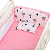 Baby Mesh Crib Liner Bed Bumper Pads Breathable 4-Sides Coverage, Anti-Collision Bedding Kit, Bed Safety Rail Guard, Thickening, Detachable & Washable, Pink,105×60
