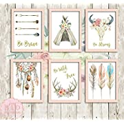 Boho Nursery Print Wall Art Set of 6 Teepee Antlers Dreamcatcher Feathers Wild Free Arrow Watercolor Gold Floral Baby Girl Room Prints Bohemian Decor