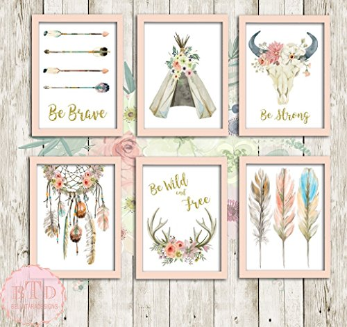- Boho Nursery Print Wall Art Set of 6 Teepee Antlers Dreamcatcher Feathers Wild Free Arrow Watercolor Gold Floral Baby Girl Room Prints Bohemian Decor