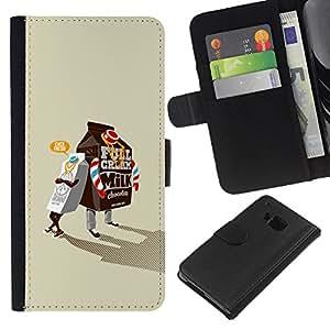 NEECELL GIFT forCITY // Billetera de cuero Caso Cubierta de protección Carcasa / Leather Wallet Case for HTC One M9 // Leche Caja de gangsters